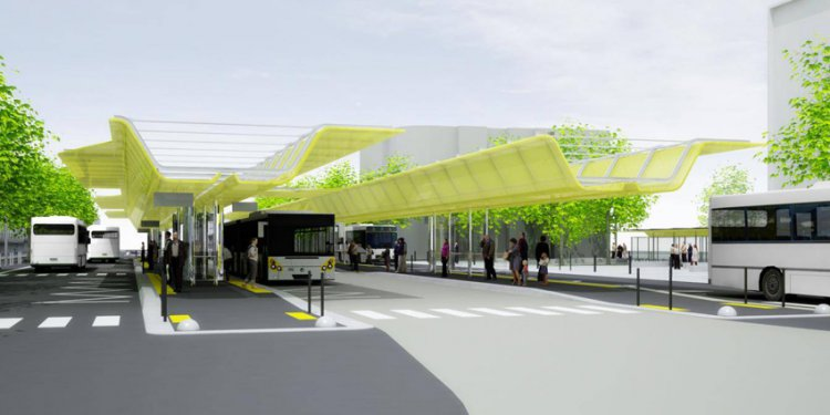 Composite awning at the St Nazaire multi-modal transport hub